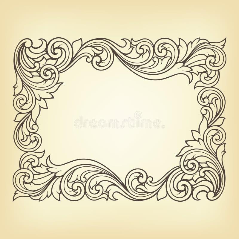 Gravyr för ram för vektortappningkant vektor illustrationer