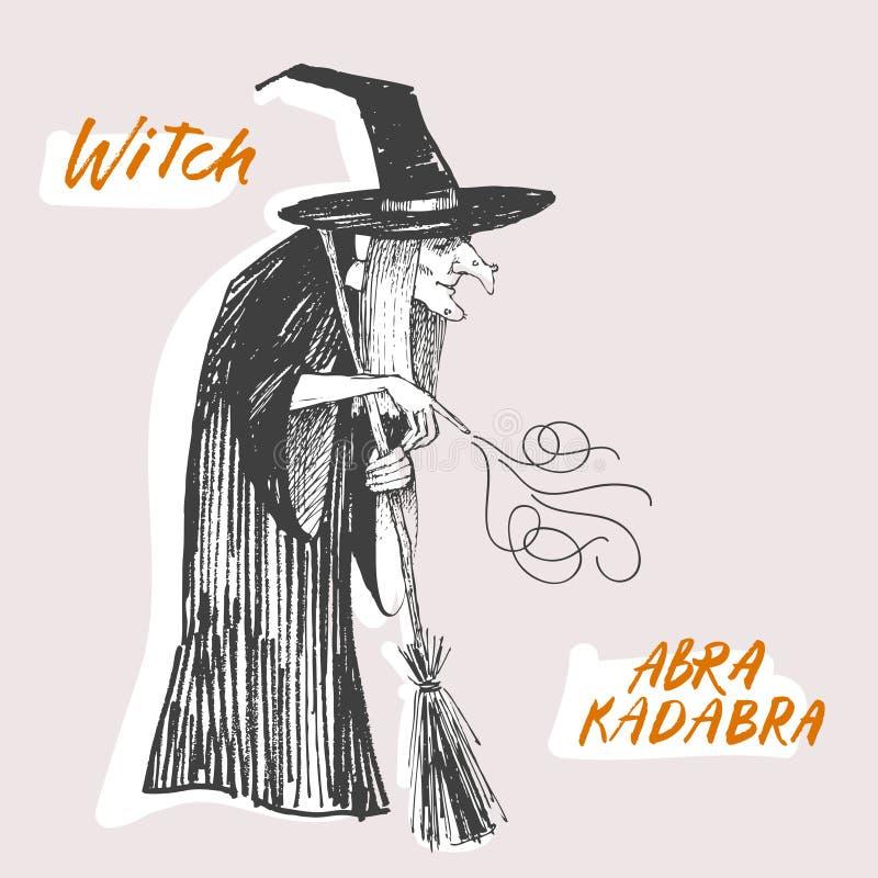 Grawerować styl Atrament kreskowa ilustracja dla Halloween czaruje czarownicy ilustracji