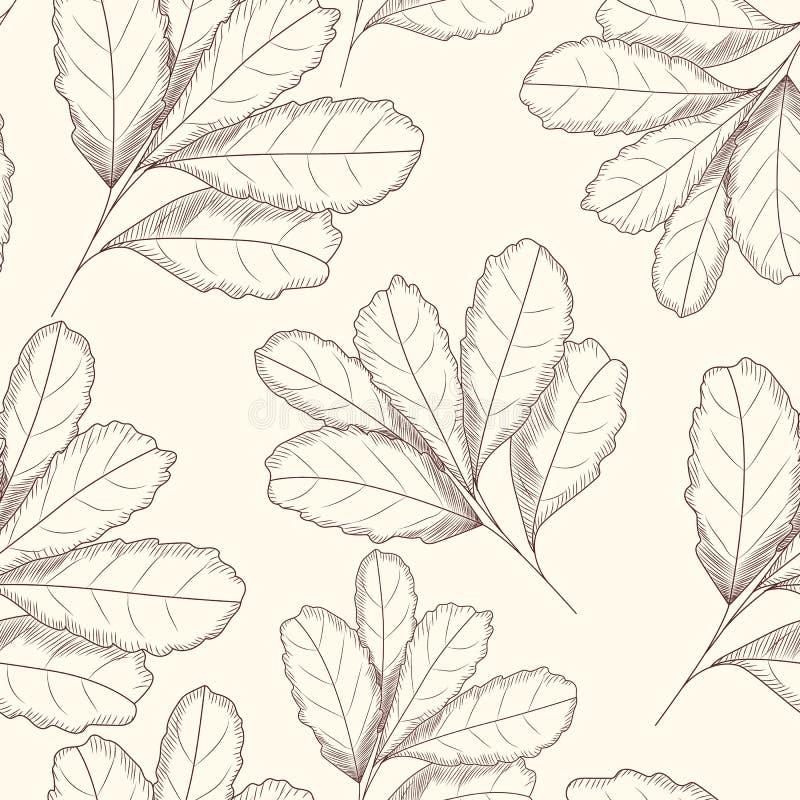 Grawerujący stylowego liścia bezszwowy wzór R?ka rysuj?ca wektorowa ilustracja d ilustracji
