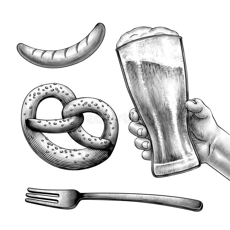 Grawerujący stylowy piwny festiwalu symbol ilustracji