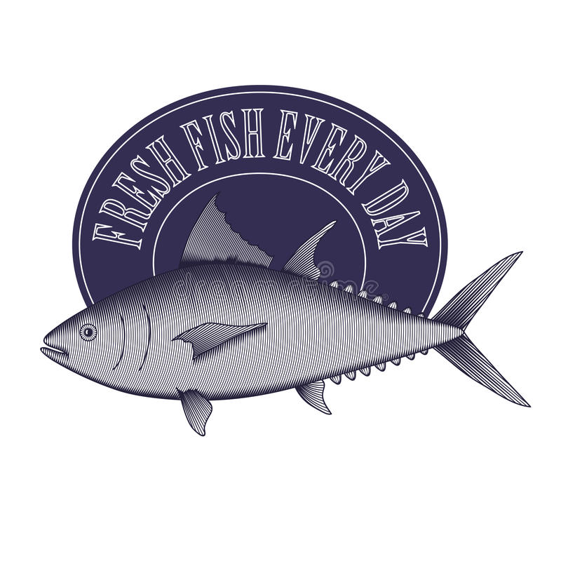 Graweruje stylowego rocznika loga - tuńczyk rama i ryba ilustracji