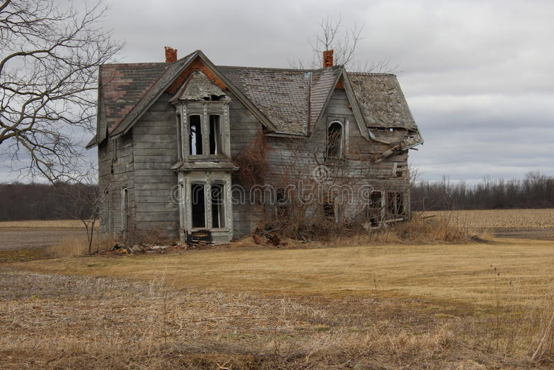 Gray abandon Home. Old rural wooden home abandon royalty free stock photo