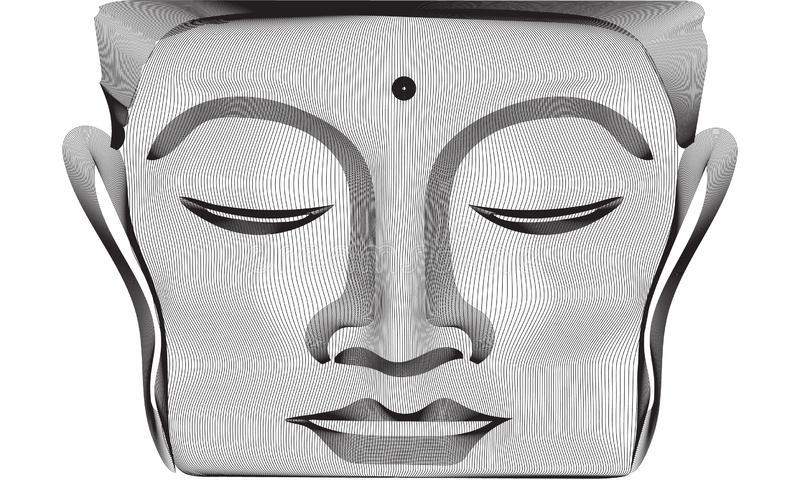 Gray abstract 3d lines Buddha face statue royalty free stock photos