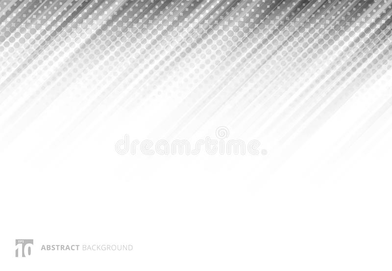 Gray abstract diagonal lines background technology with halftone vector illustration