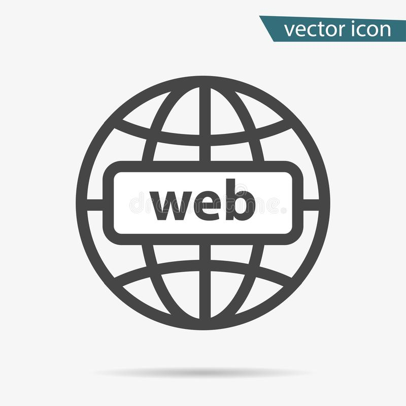 Gray address http icon isolated. Modern simple flat globe sign. Business internet concept. Trendy so. Cial vector network www symbol for web site design or stock illustration