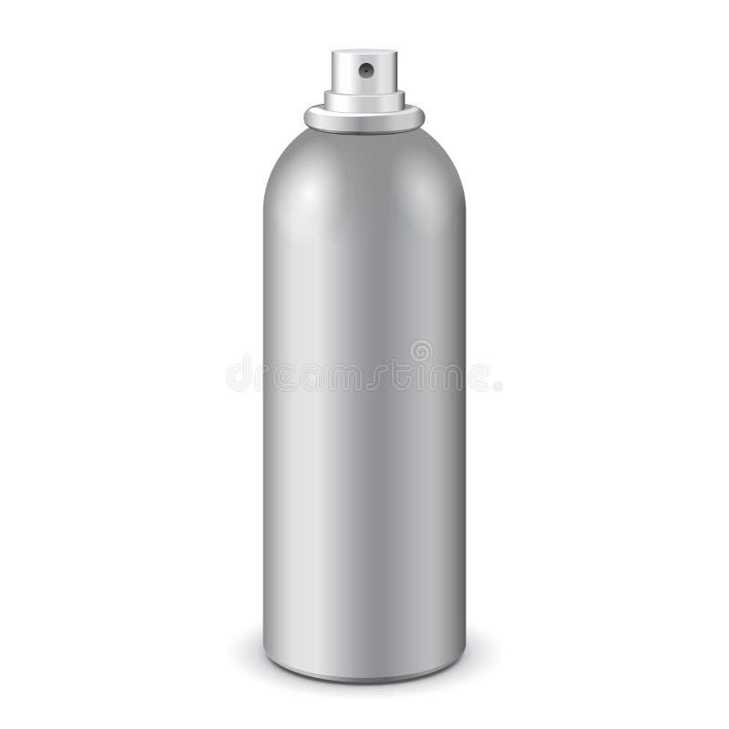 Gray Aerosol Spray Metal Bottle kan: Målarfärg grafitti, deodorant EPS10 vektor illustrationer