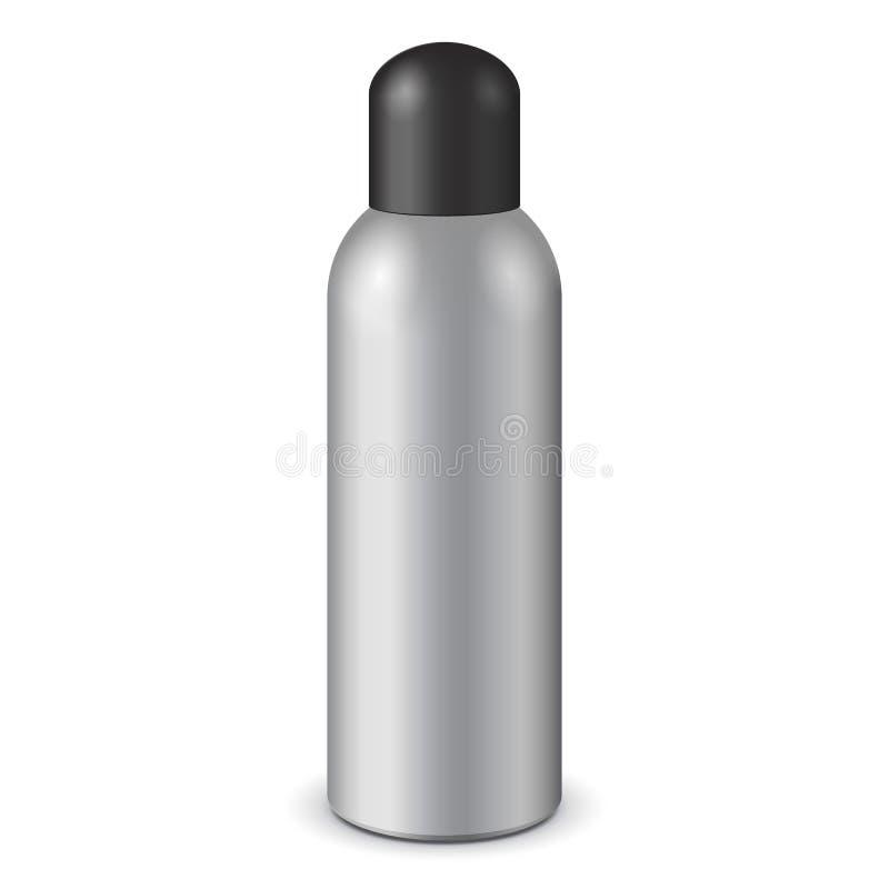 Gray Aerosol Spray Metal Bottle kan med locklocket: Målarfärg grafitti, deodorant EPS10 vektor illustrationer