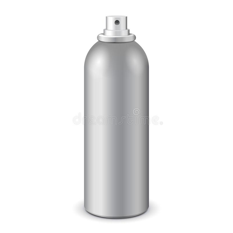 Gray Aerosol Spray Metal Bottle può: Pittura, graffito, deodorante EPS10 illustrazione vettoriale
