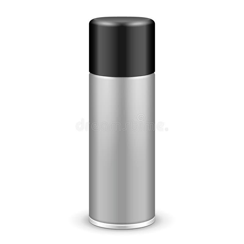Gray Aerosol Spray Metal Bottle puede con el casquillo de la tapa: Pintura, pintada, desodorante libre illustration