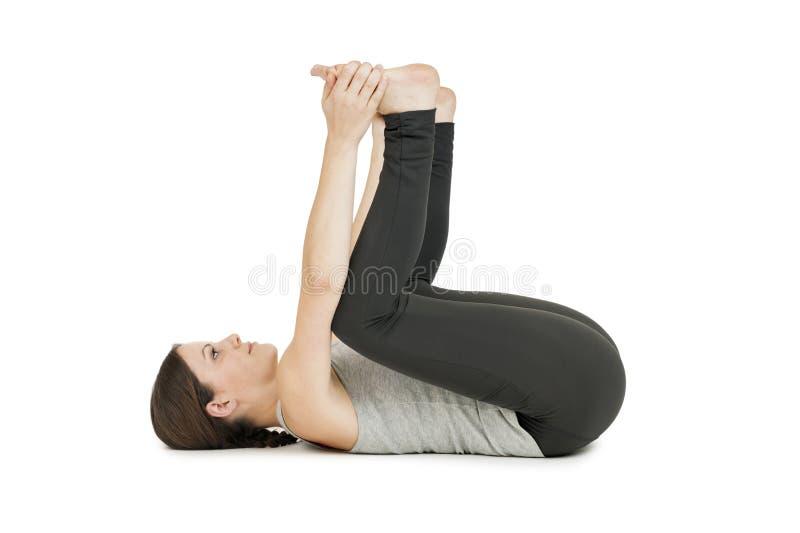 Gray_anada de femme de yoga balasana_profile photos stock