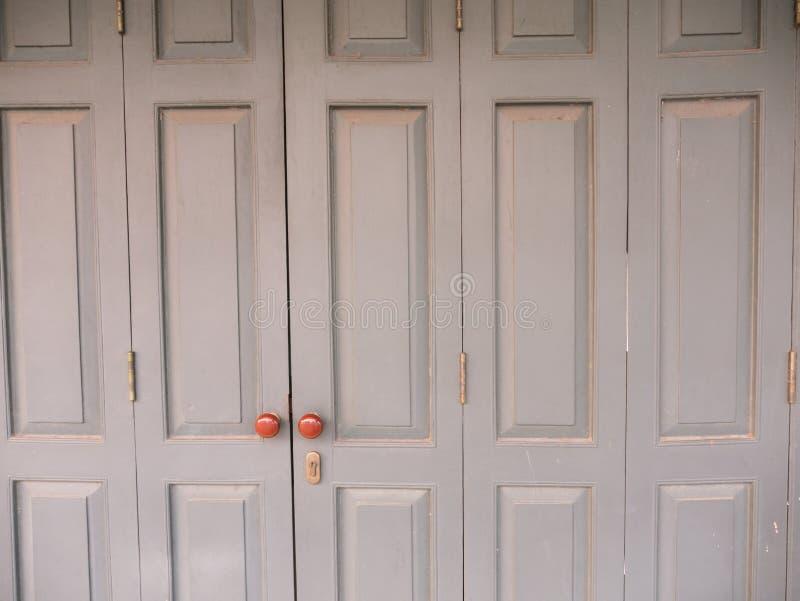 Gray Ancient Hinge Wooden Door imagen de archivo