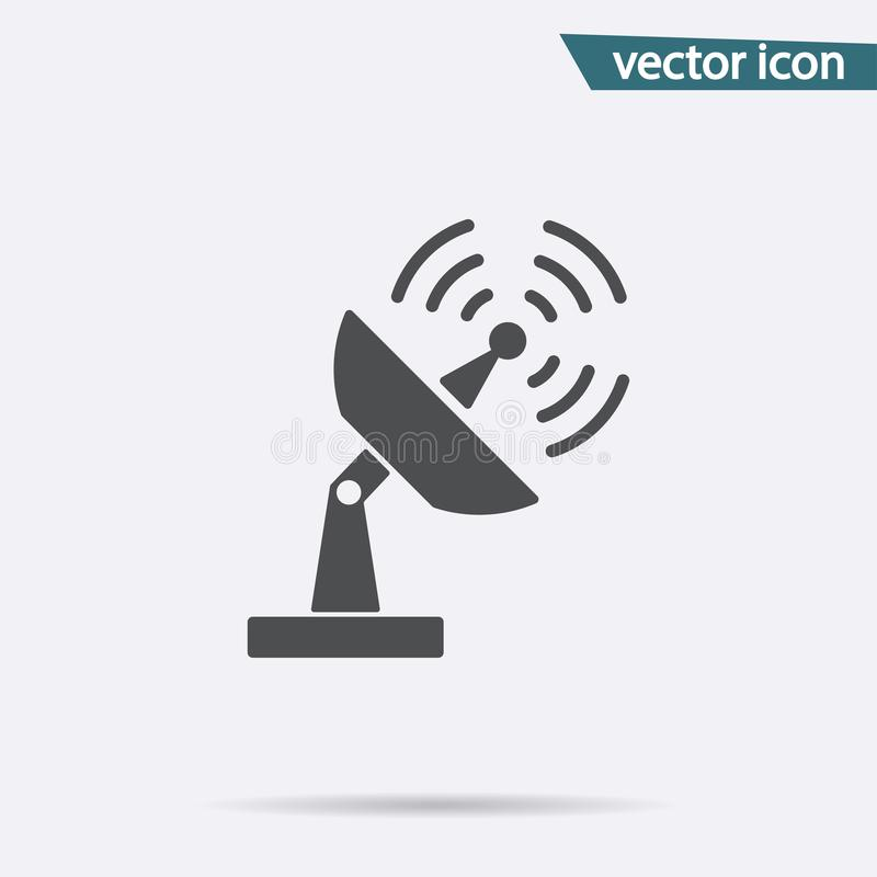 Gray Antenna icon isolated on background. Modern flat pictogram, business, marketing, internet conce stock illustration