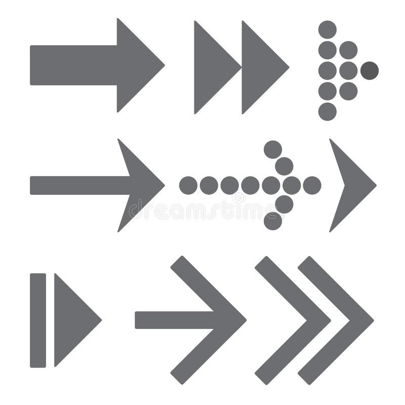 Gray arrows set vector illustration