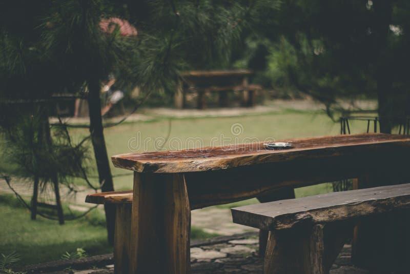 Gray Ashtray on Brown Wood Slab Table stock photos
