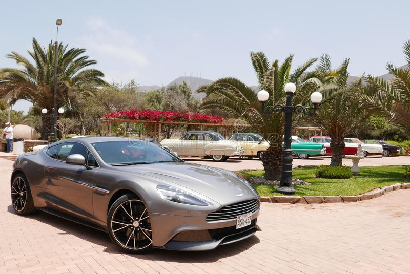 Gray Aston Martin Vanquish coupe at south of Lima royalty free stock photos