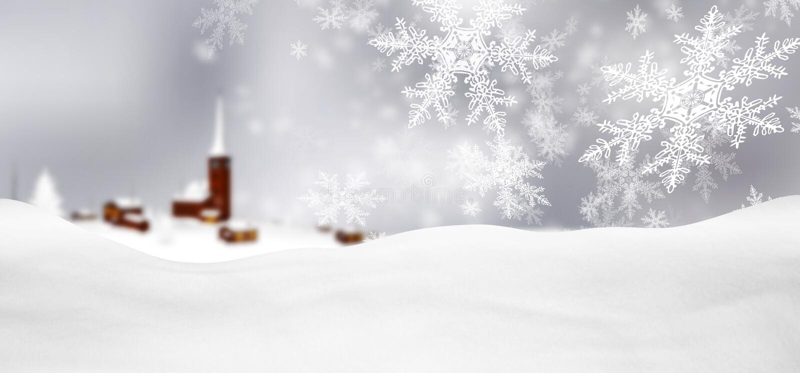 Gray Background Panorama Winter Landscape argenté abstrait avec F illustration stock