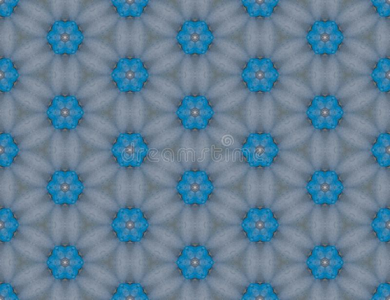 Gray background pattern from the cyan six-pointed figures. Geometric seamless design template with simple symmetric ornament. Cyan and gray geometric design vector illustration