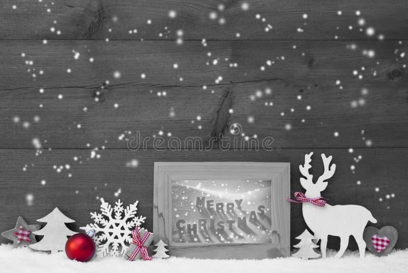 Gray Background Snowflakes Frame Merry-Kerstmis royalty-vrije stock fotografie