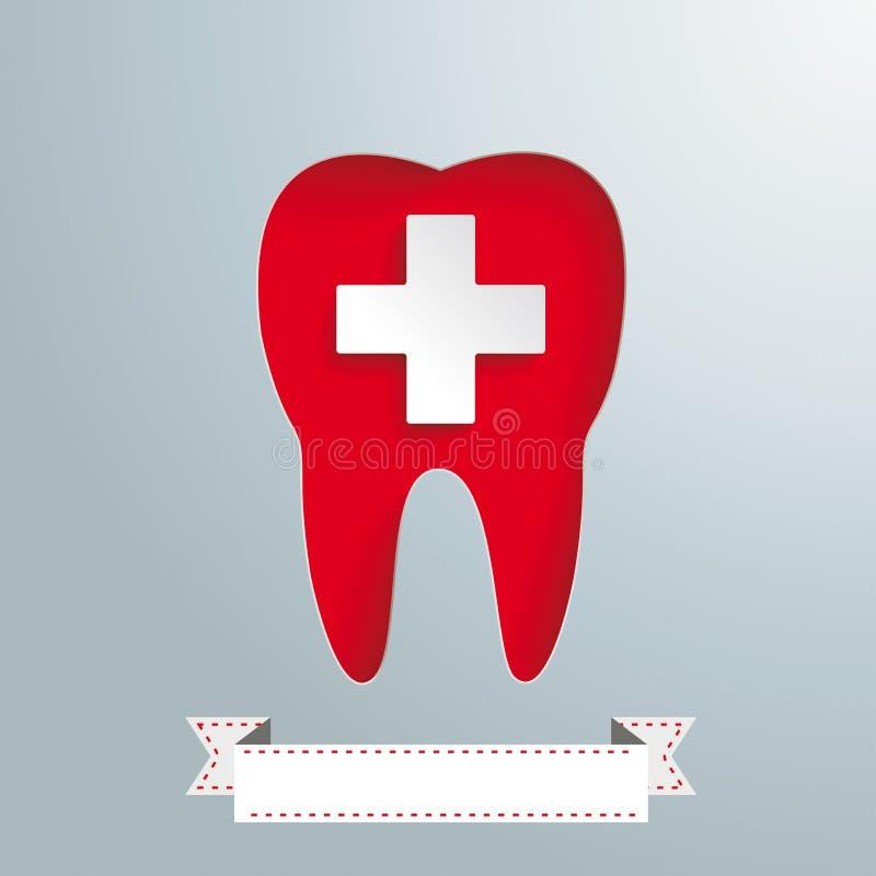Gray Background Tooth Hole White-Kreuz stock abbildung