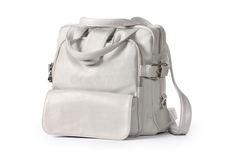 Gray backpack royalty free stock photography