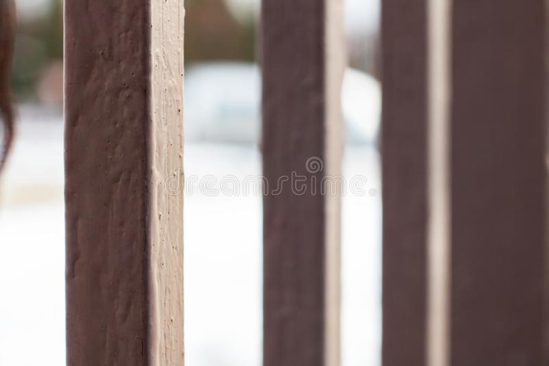 Gray bars of the fence close up, macro photo. Background stock image