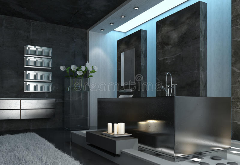 Gray Bathroom Design architettonico elegante moderno illustrazione vettoriale