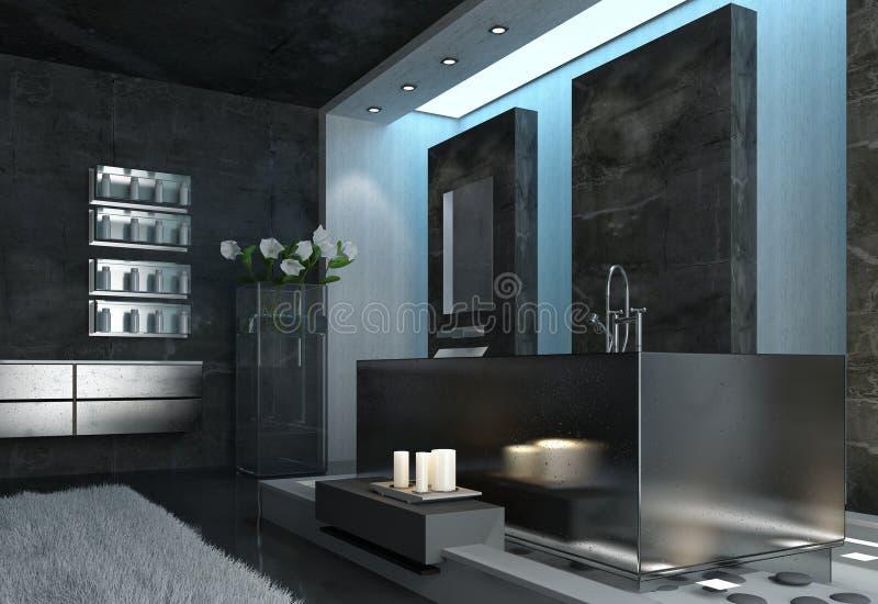 Gray Bathroom Design arquitectónico elegante moderno ilustración del vector