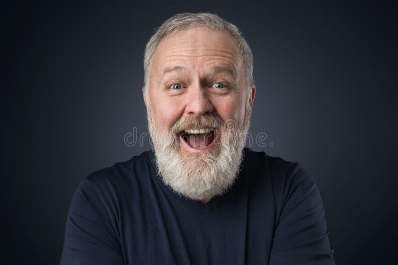 Gray beard happy old man stock image