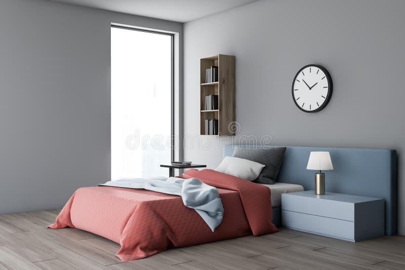 Gray bedroom corner with shelf and clock vector illustration