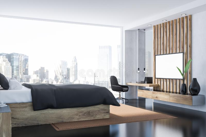 Gray bedroom interior with tv. Interior of master bedroom with white walls, black floor, panoramic window, gray master bed and home office corner with big tv set royalty free illustration