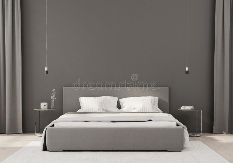 Gray bedroom in a minimalist style stock illustration