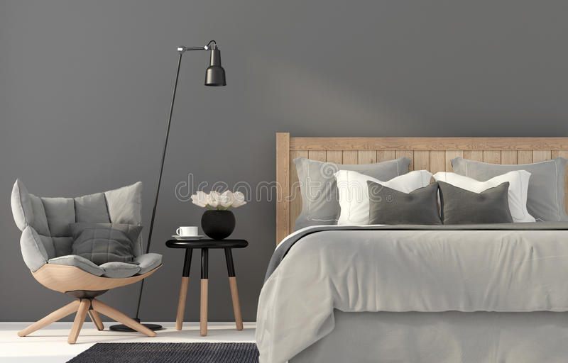 Gray bedroom with a wooden bed royalty free illustration