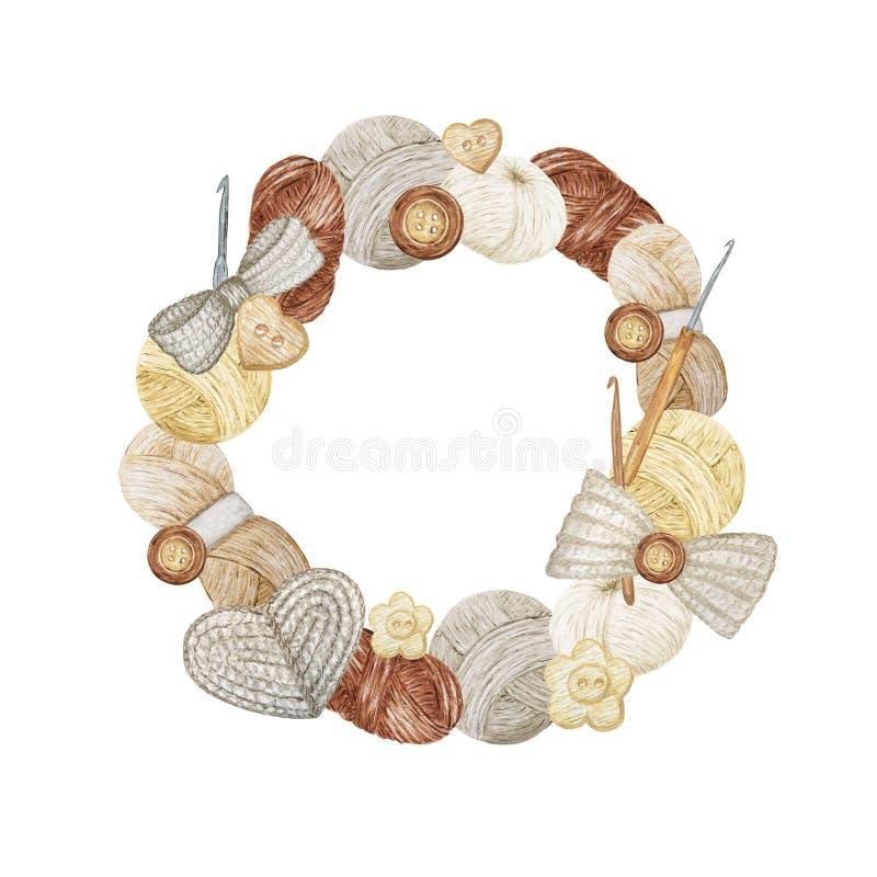 Free Gray Beige Crochet Shop Logotype Round Frame, Branding, Avatar Composition Of Hooks, Yarns, Crocheted Heart, Bow Stock Photos - 162494383