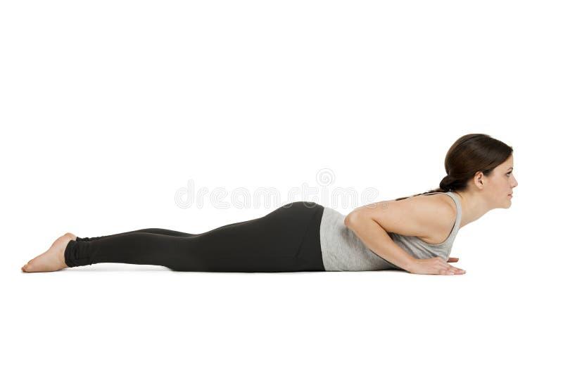 Gray_Bhujangasana женщины йоги стоковые фотографии rf