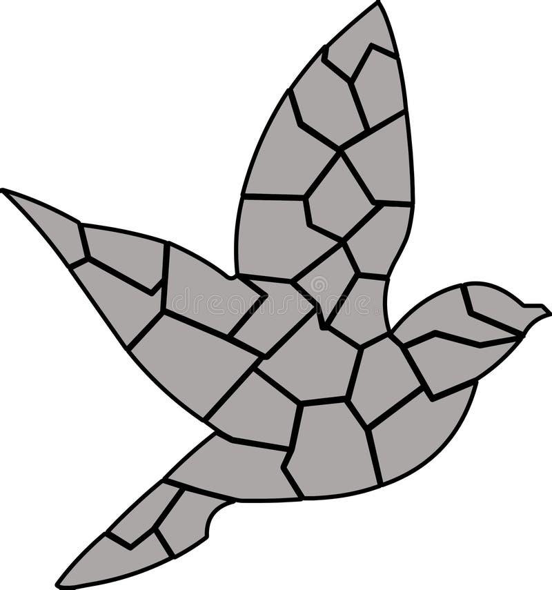 Gray Bird med svarta översikter flyga tillsammans stock illustrationer