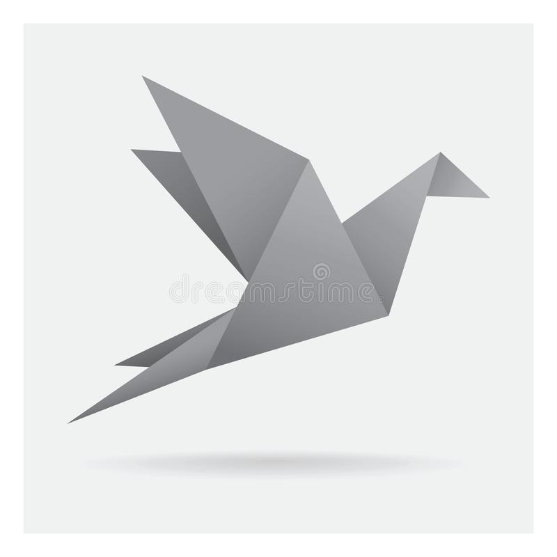 Gray black bird paper craft flying in frame art isolated on back. This is gray black bird paper craft flying in frame art isolated on background vector illustration