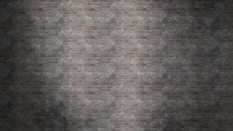 Gray-black brick wall texture grunge background. With vignetted corners, There is an White light on the wall, may use to interior design stock image