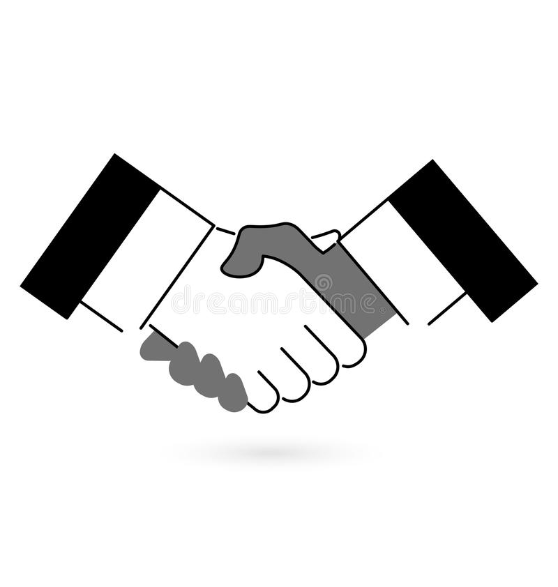 Gray and black handshake icon, flat style. Vector illustration. Gray and black handshake icon, flat style. Vector illustration royalty free illustration