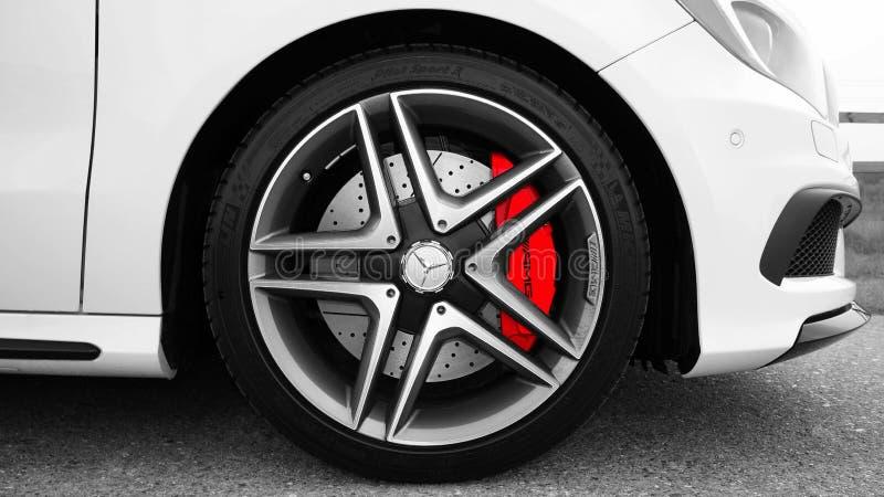 Gray and Black Mercedes Benz 10 Spoke Wheel stock photo