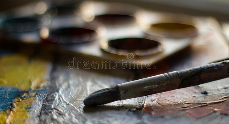 Gray and Black Paint Brush stock images