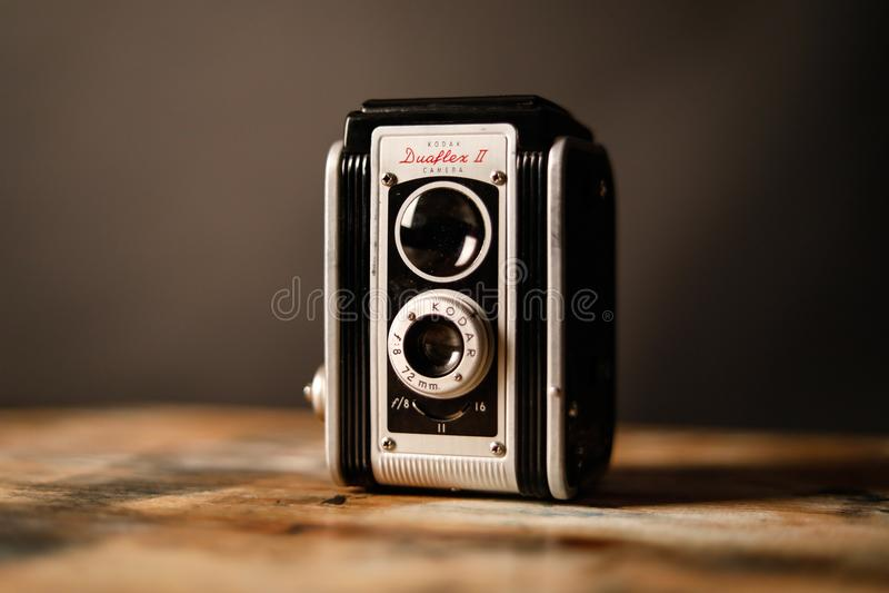 Gray and Black Vintage Camera stock image