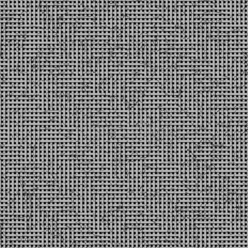 Gray or black and white b&w Texture abstract virtual geometric pattern, woven mat or rattan for design, graphic resource. vector illustration