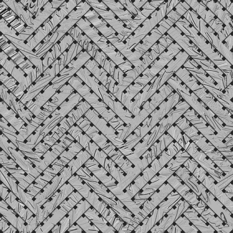 Gray or black and white b&w Virtual geometric pattern abstract, woven mat or rattan background, backdrop or texture. royalty free illustration