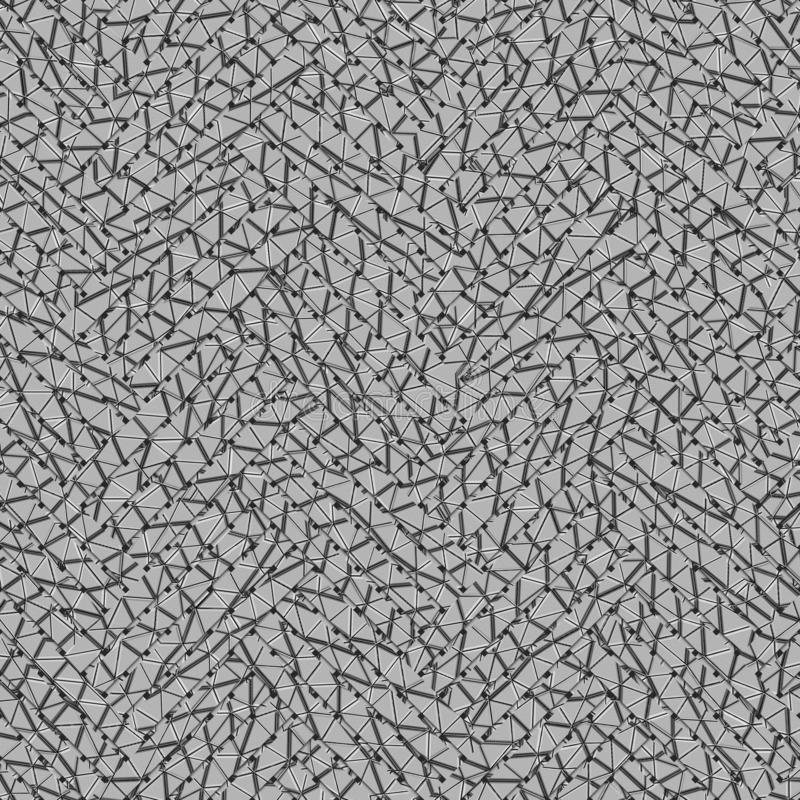 Gray or black and white b&w Abstract texture with virtual geometric pattern, woven mat or rattan. royalty free illustration