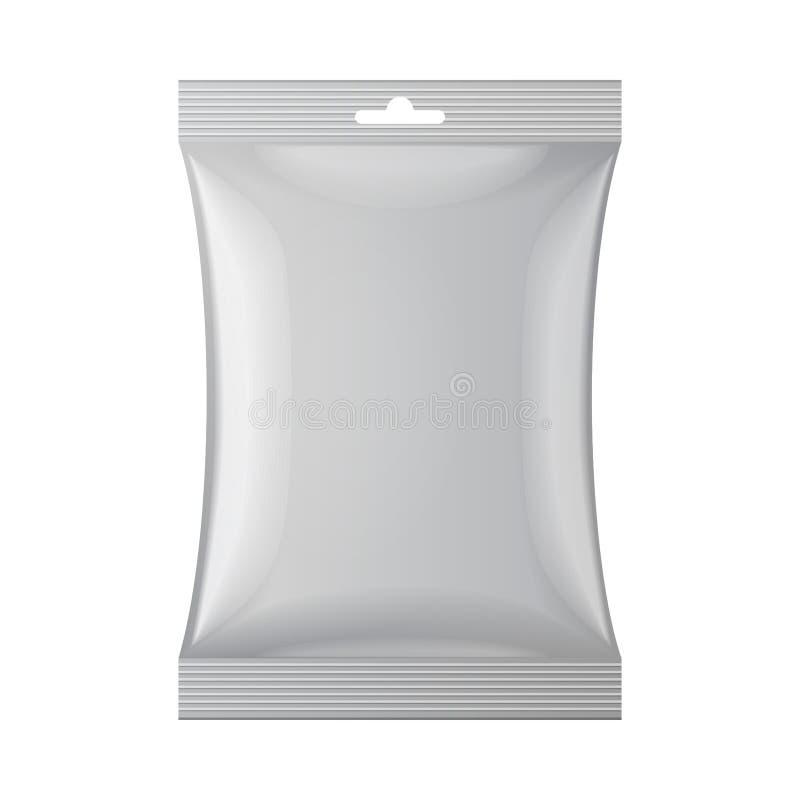 Gray Blank Foil Food Snack-Kissen-Tasche stock abbildung