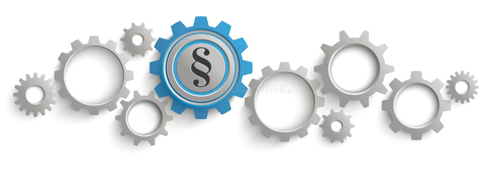 Gray Blue Gears Paragraph White Background Header stock illustration