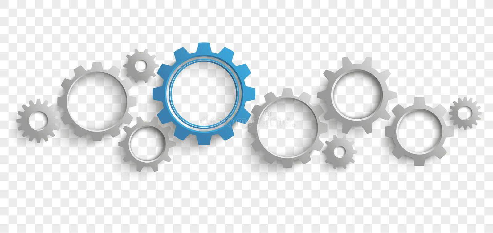 Gray Blue Gears Transparent Header libre illustration