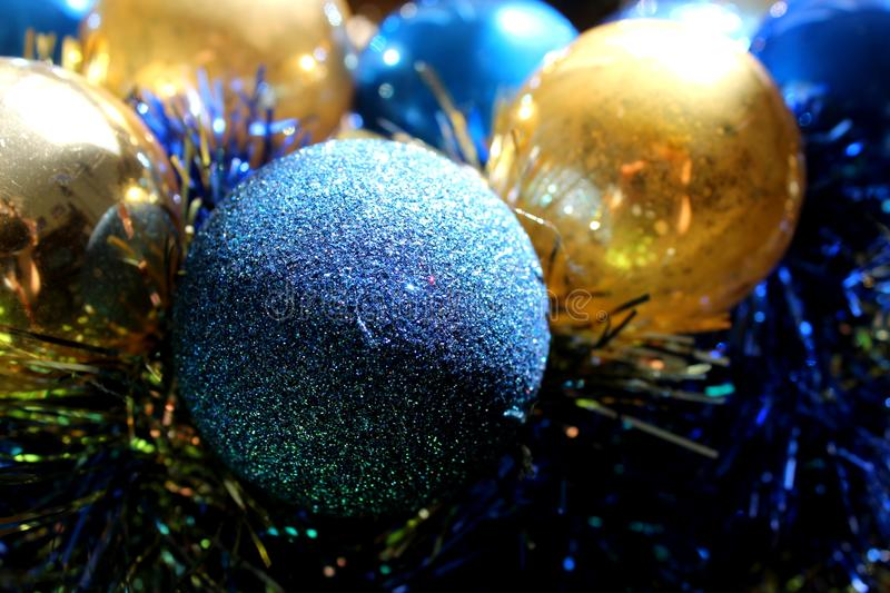 Gray, Blue, and Gold-colored Baubles royalty free stock image