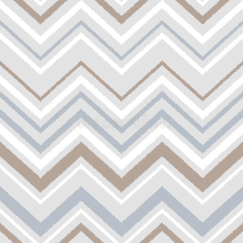 Gray blue and white chevron ikat ornament geometric abstract fabric seamless pattern, vector vector illustration