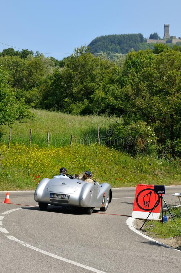 Gray BMW 328 Roadster during 1000 Miglia. RADICOFANI (SI) ITALY - MAY 19: Giuliano Can� drives a gray BMW 328 Roadster built in 1939, during the 1000 Miglia royalty free stock image